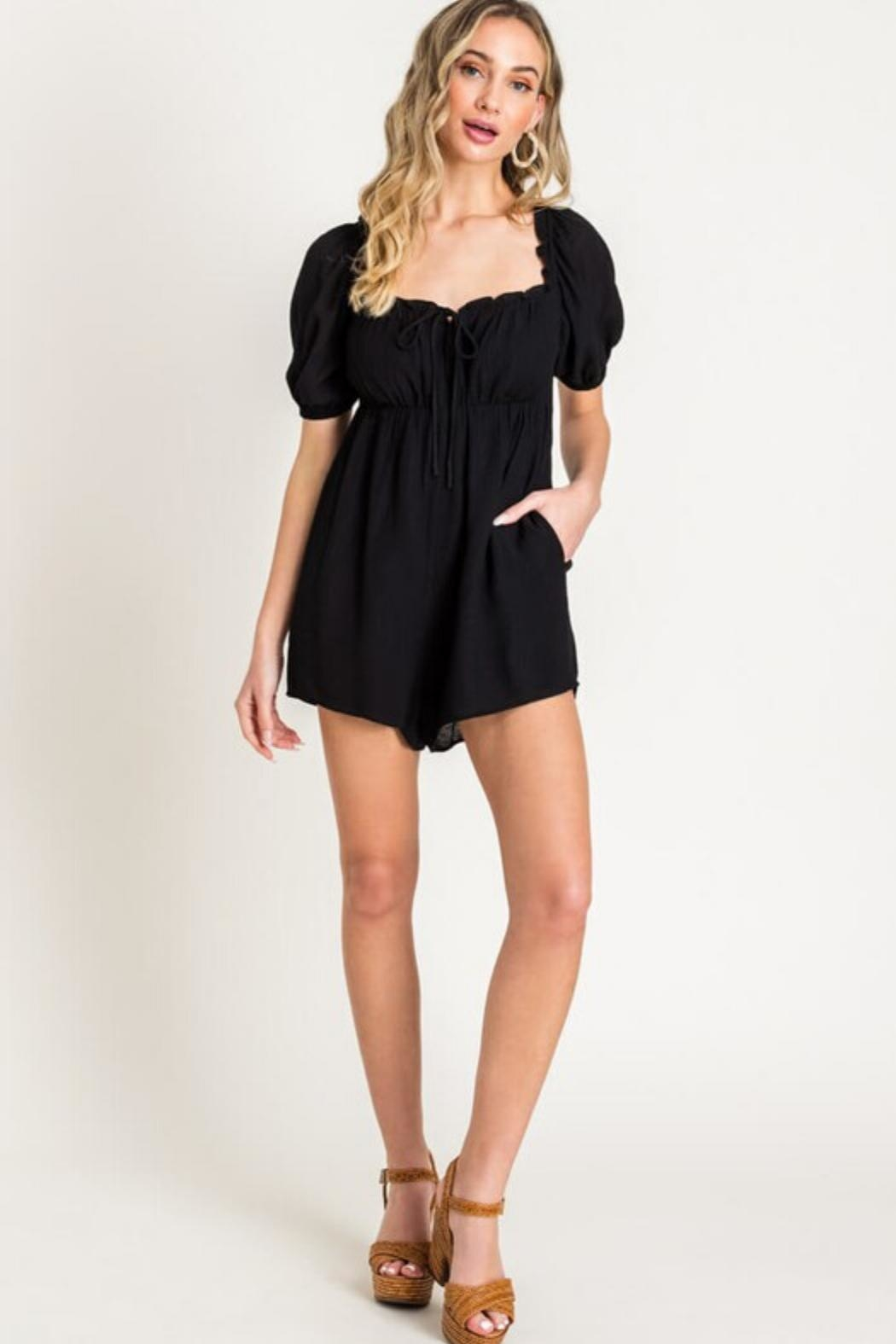 Lush Puff Sleeve Romper - Front Cropped Image