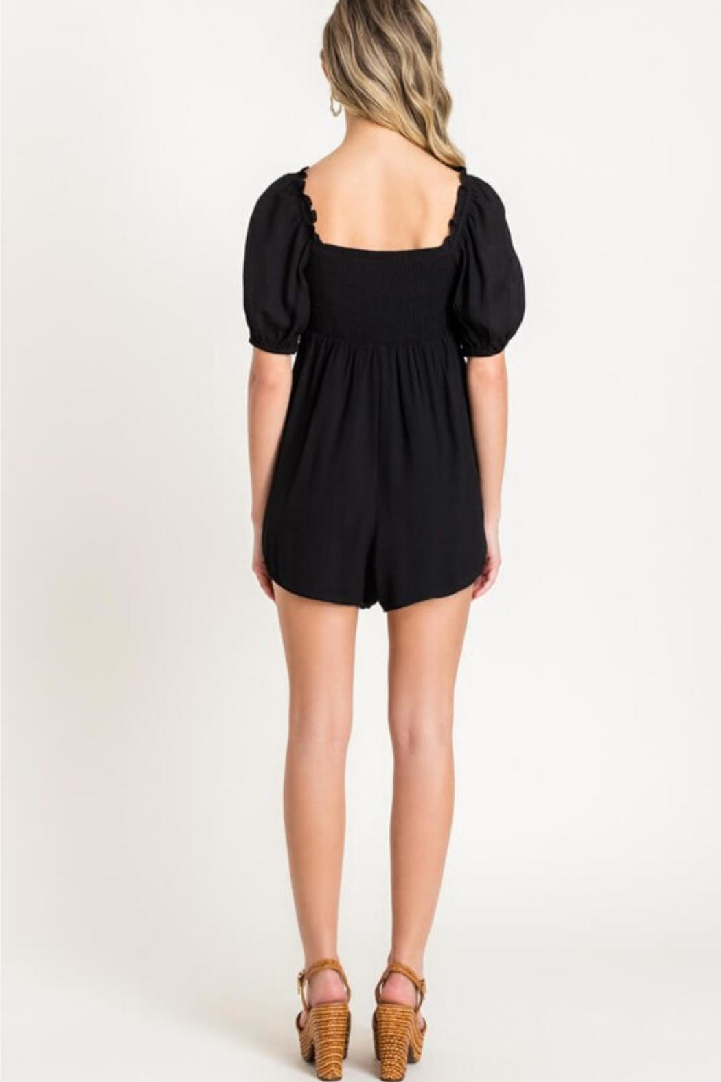 Lush Puff Sleeve Romper - Front Full Image