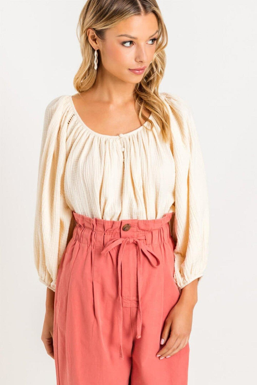 Lush Raglan Balloon-Sleeve Blouse - Main Image
