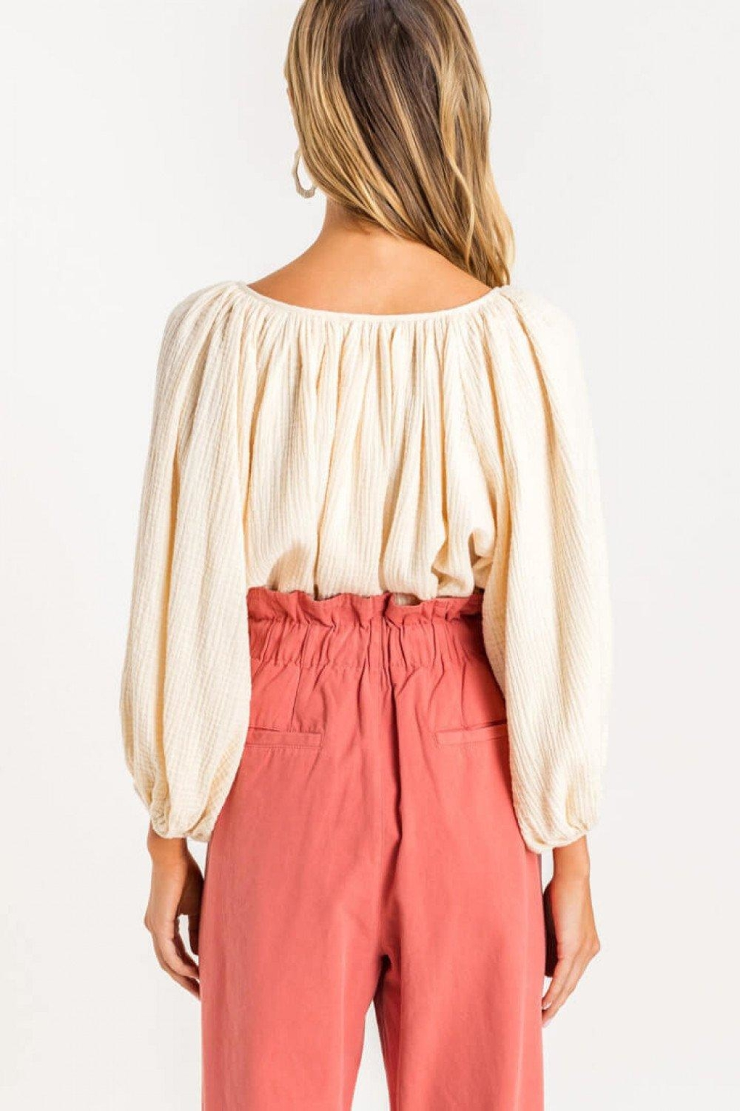 Lush Raglan Balloon-Sleeve Blouse - Back Cropped Image