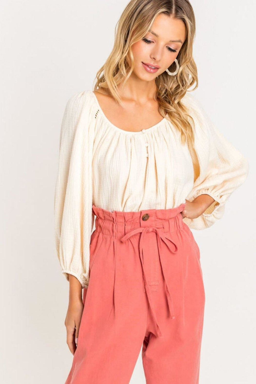 Lush Raglan Balloon-Sleeve Blouse - Side Cropped Image