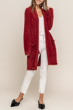 Lush Red Fuzzy Cardigan - Product List Image