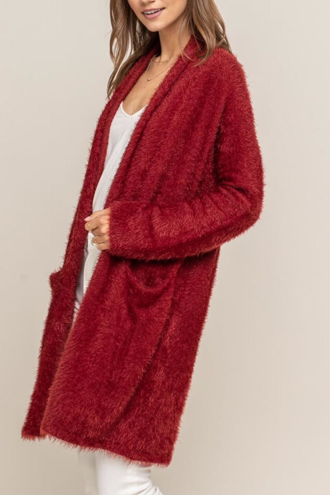 Lush Red Fuzzy Cardigan - Side Cropped Image