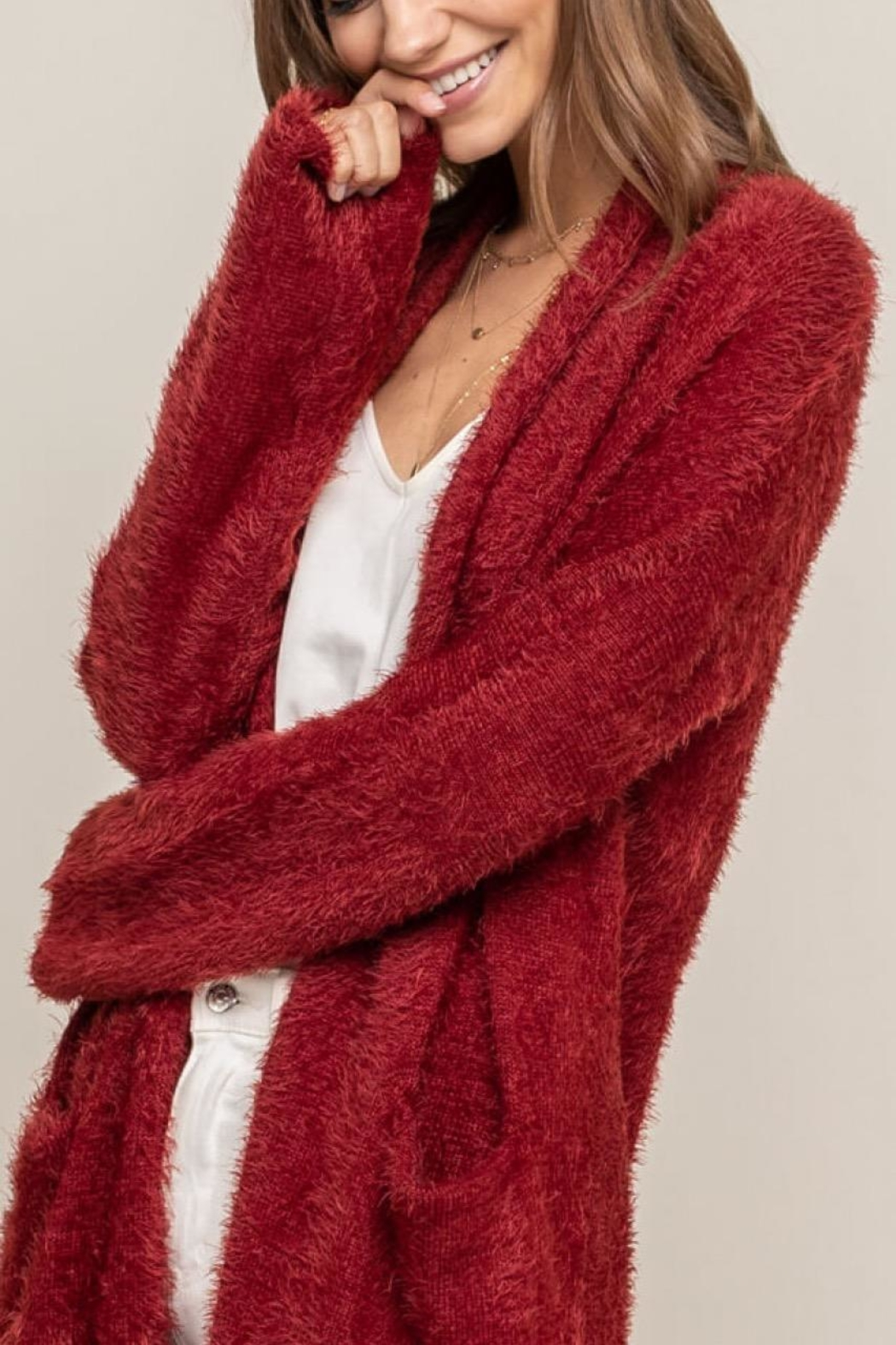 Lush Red Fuzzy Cardigan - Front Full Image