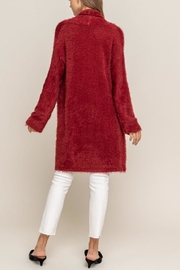 Lush Red Fuzzy Cardigan - Back cropped