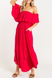 Lush Red Off-Shoulder Jumpsuit - Front full body