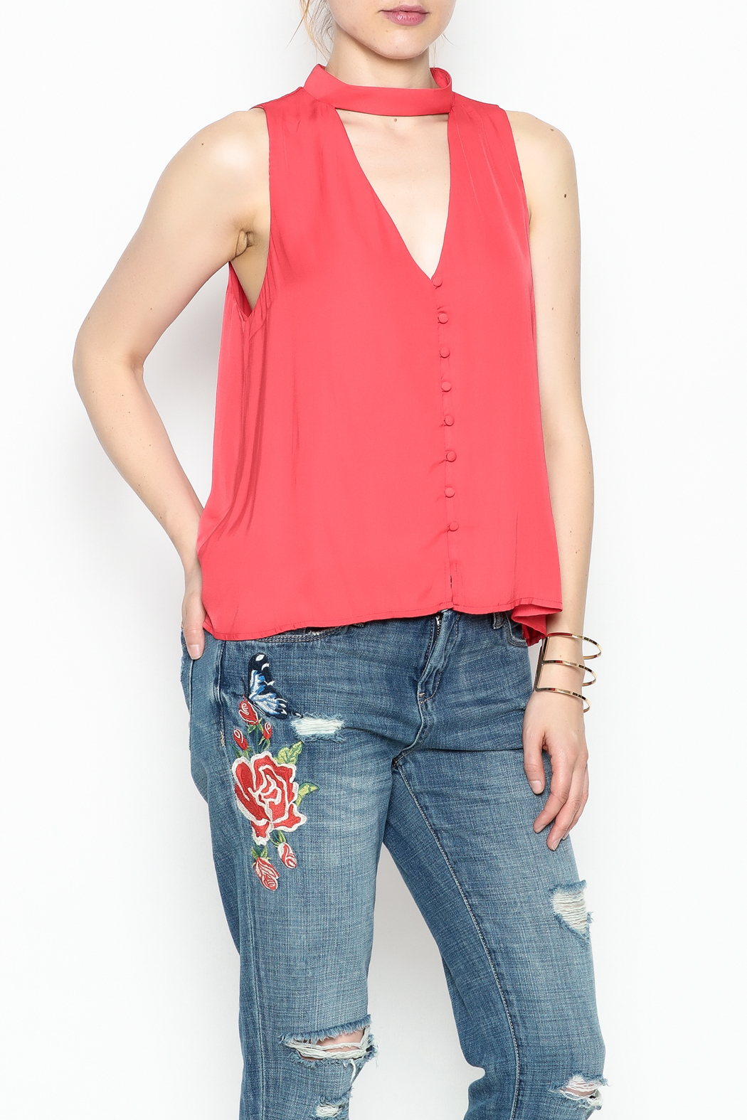 Lush Red Satin Top - Side Cropped Image