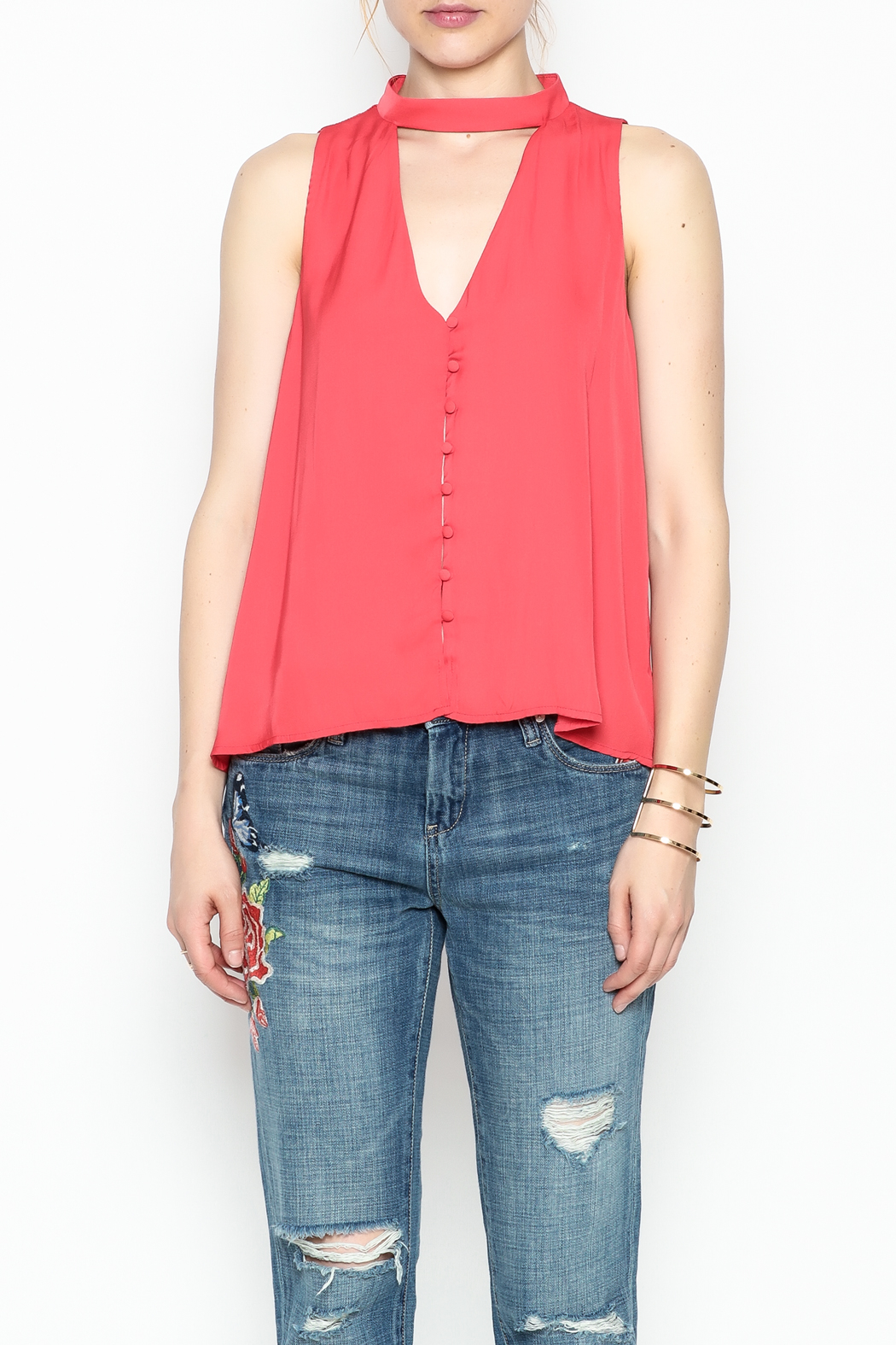 Lush Red Satin Top - Front Cropped Image
