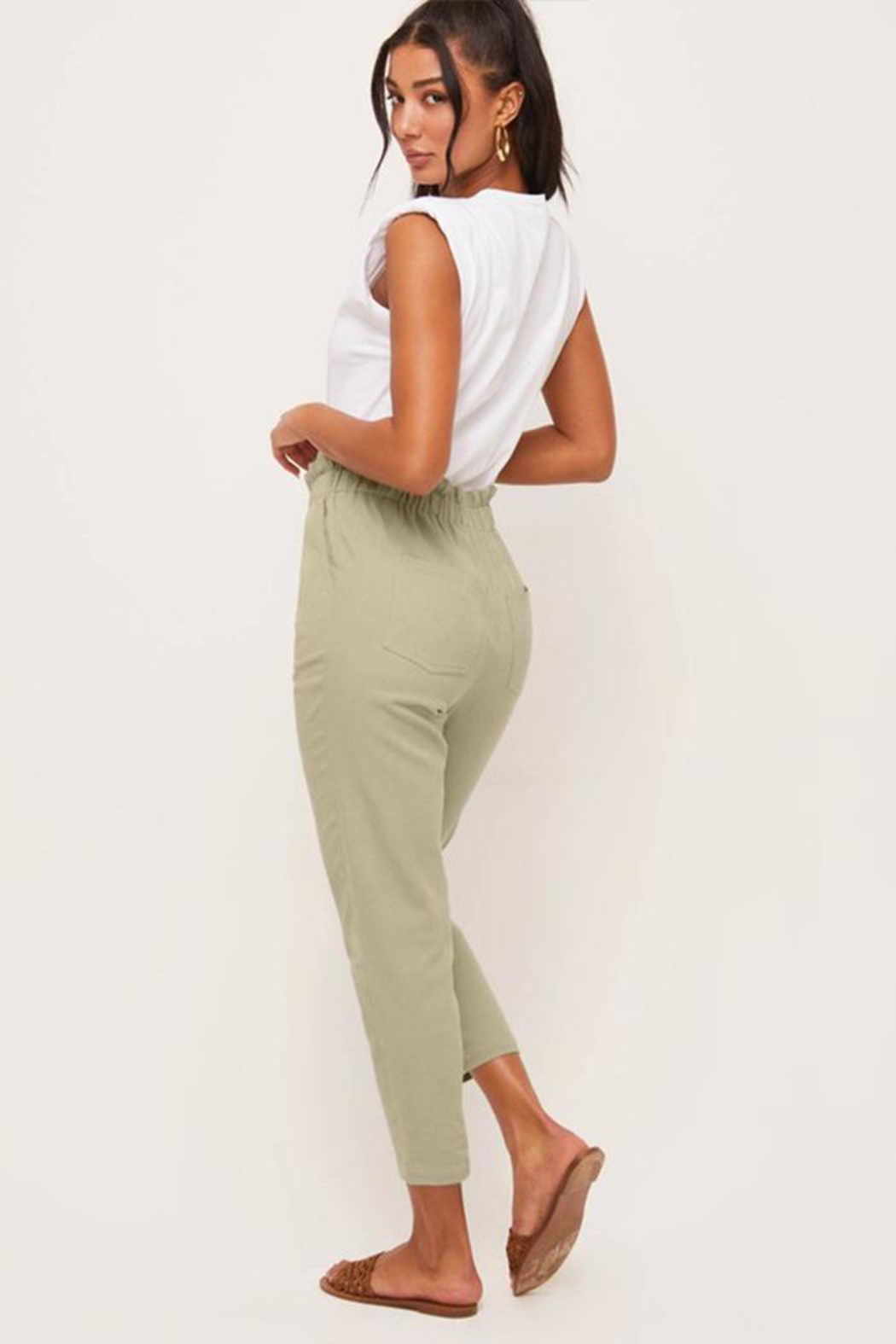 Lush Relaxed-Fit Paperbag Pants - Side Cropped Image