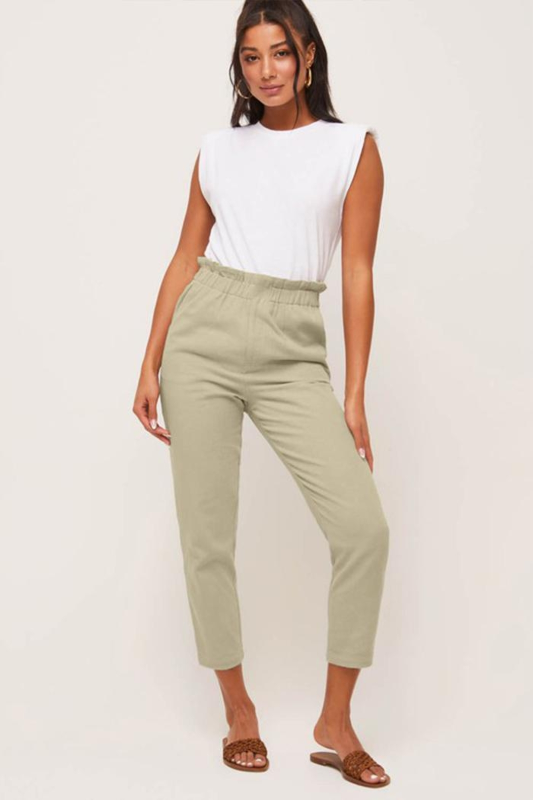 Lush Relaxed-Fit Paperbag Pants - Main Image