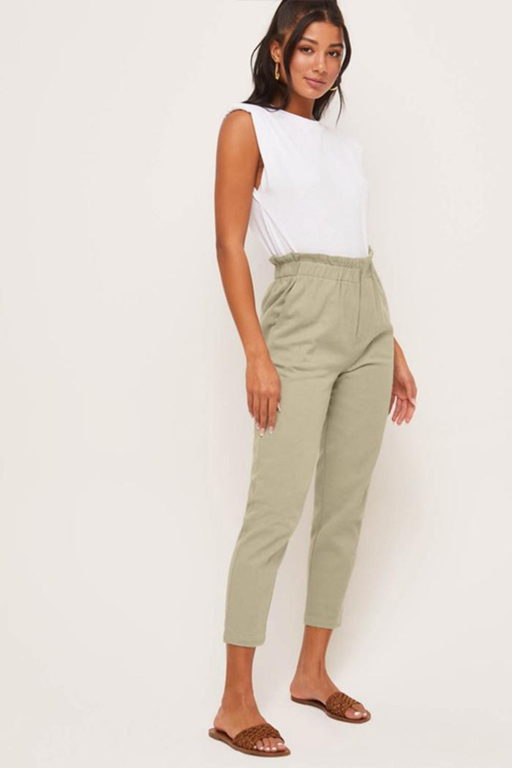 Lush Relaxed-Fit Paperbag Pants - Front Full Image