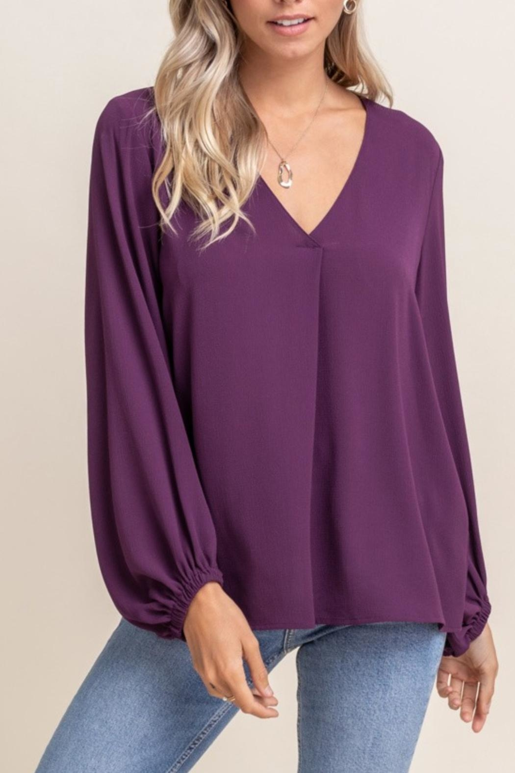Lush Relaxed V-Neck Blouse - Front Cropped Image