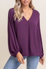 Lush Relaxed V-Neck Blouse - Front cropped