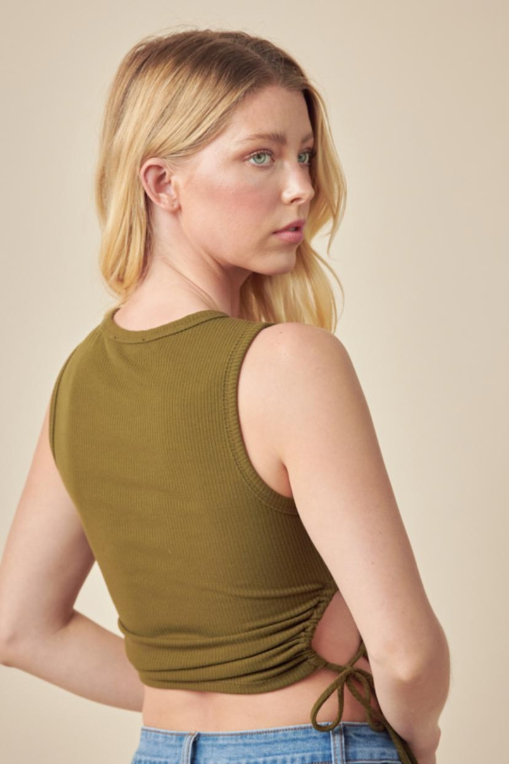 Lush Ribbed Crop Top - Side Cropped Image