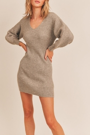 Lush Ribbed Sweater Dress - Front cropped