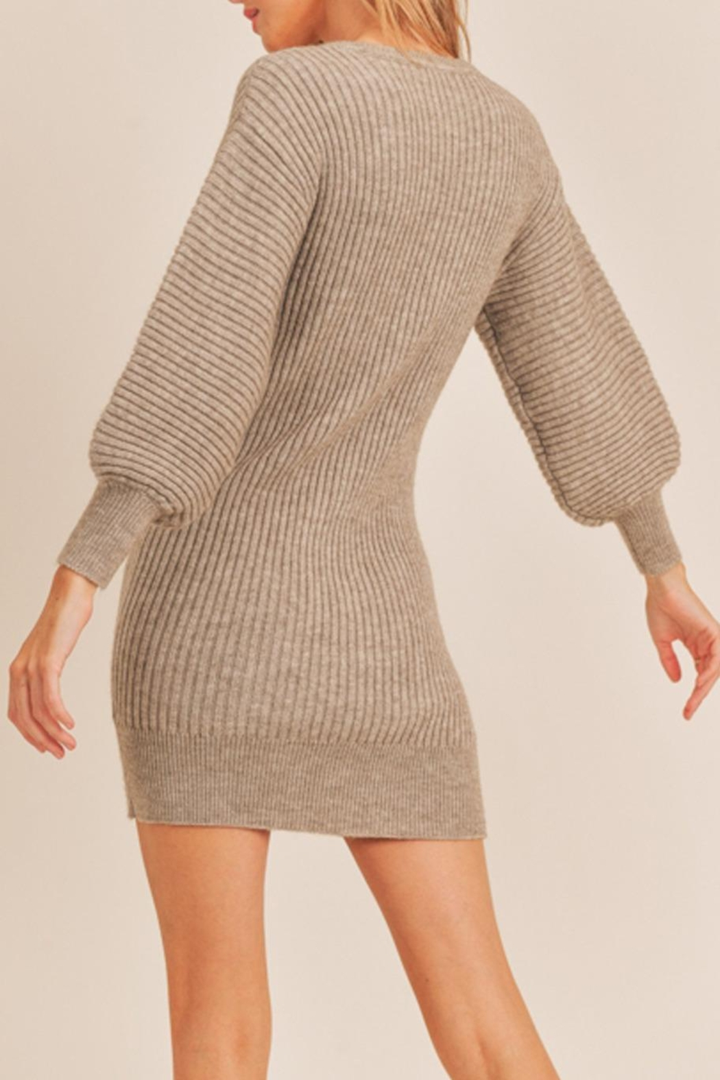 Lush Ribbed Sweater Dress - Front Full Image