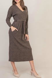 Lush Ribbed V-Neck Dress - Product Mini Image