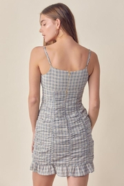 Lush Ruched Gingham Dress - Back cropped