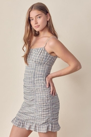 Lush Ruched Gingham Dress - Front full body