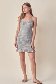 Lush Ruched Gingham Dress - Front cropped