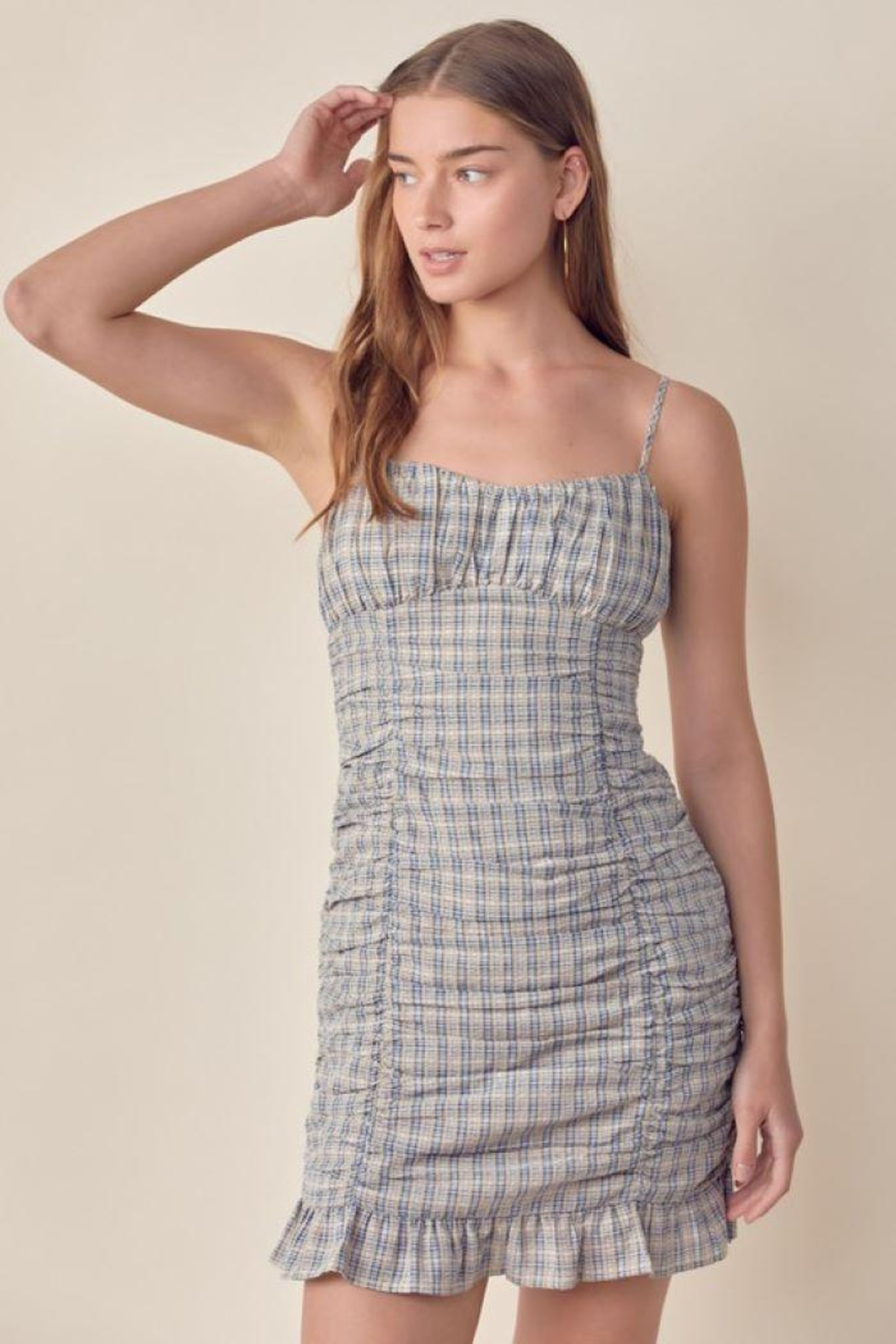 Lush Ruched Gingham Dress - Side Cropped Image