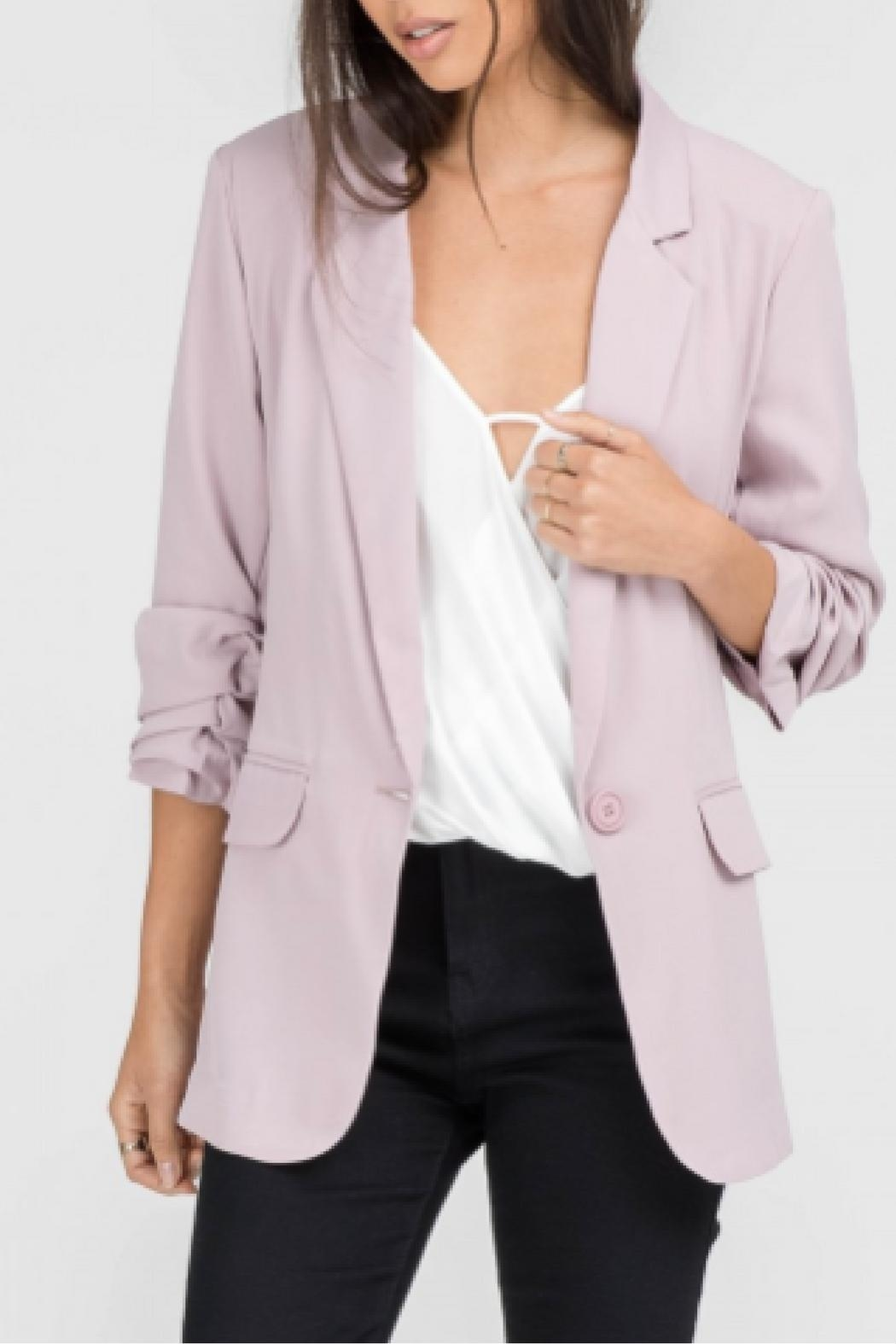 Lush Ruched Sleeve Blazer - Front Cropped Image