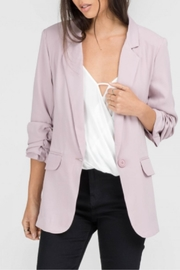 Lush Ruched Sleeve Blazer - Front cropped