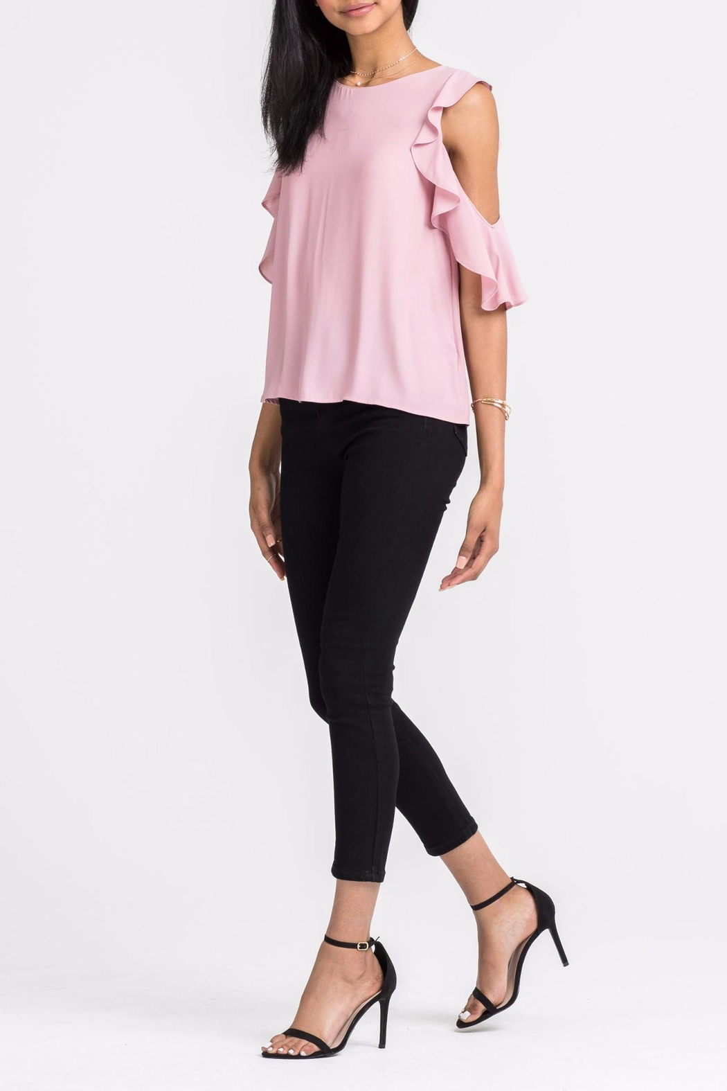 Lush Ruffle Cold-Shoulder Top - Front Full Image