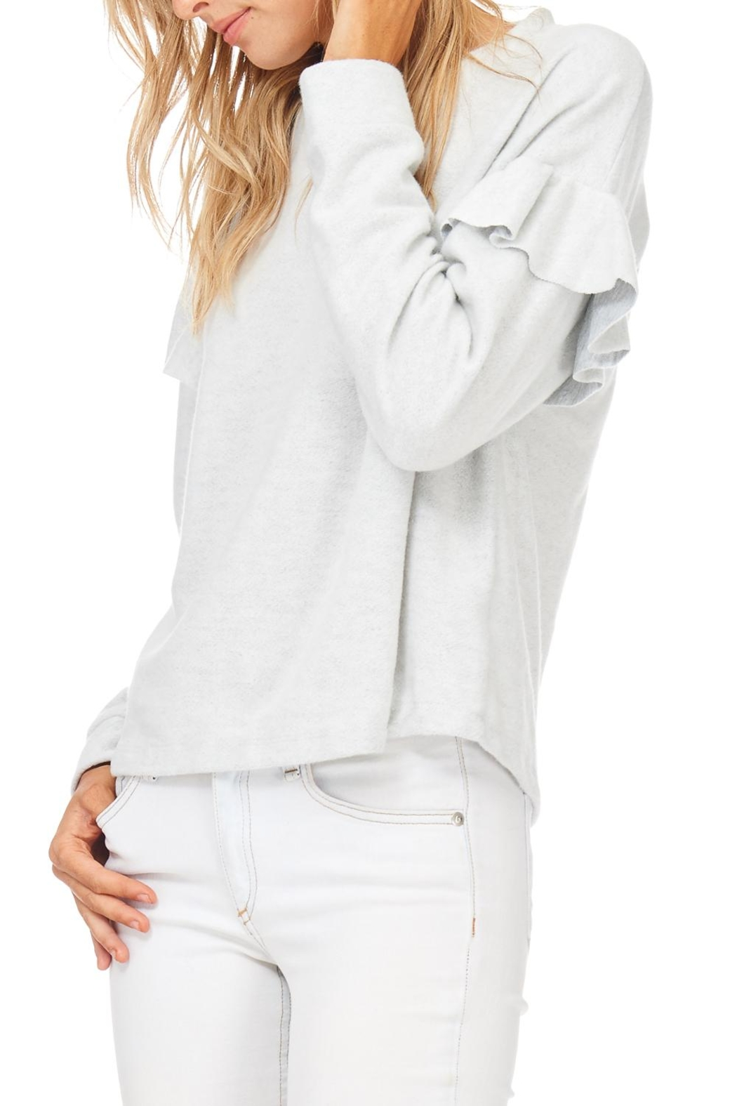 Lush Ruffle Detail Sweatshirt - Back Cropped Image