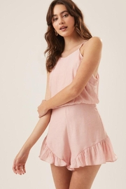 Lush Ruffle Halter Cocktail Romper - Front cropped