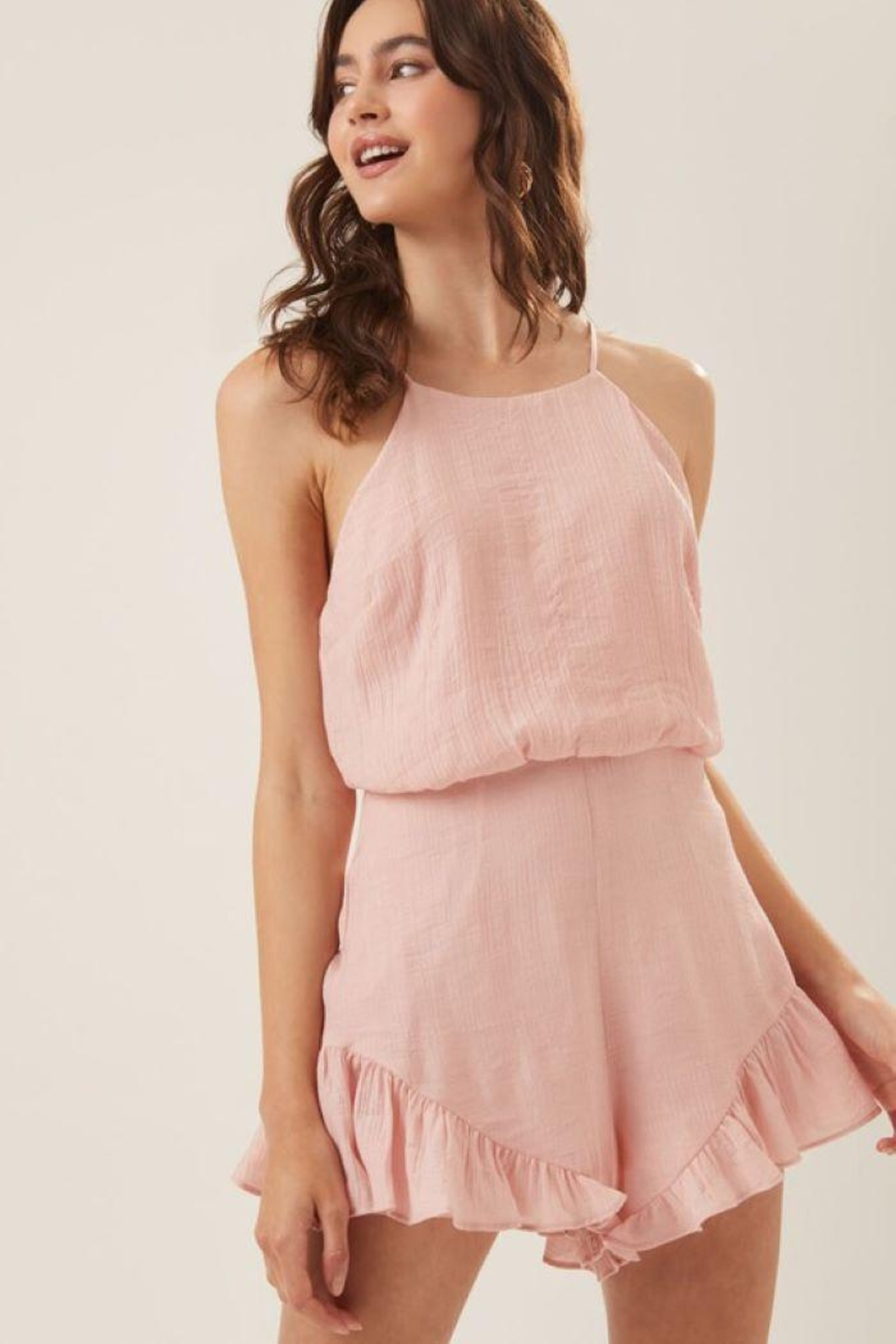 Lush Ruffle Halter Cocktail Romper - Side Cropped Image
