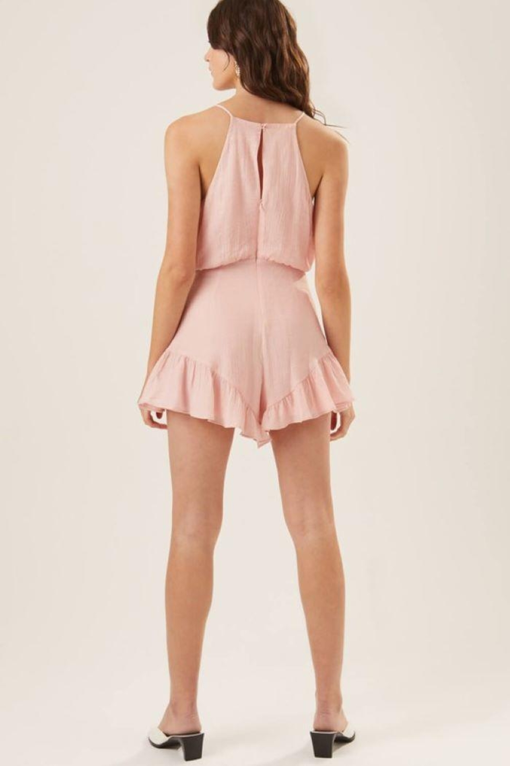 Lush Ruffle Halter Cocktail Romper - Back Cropped Image