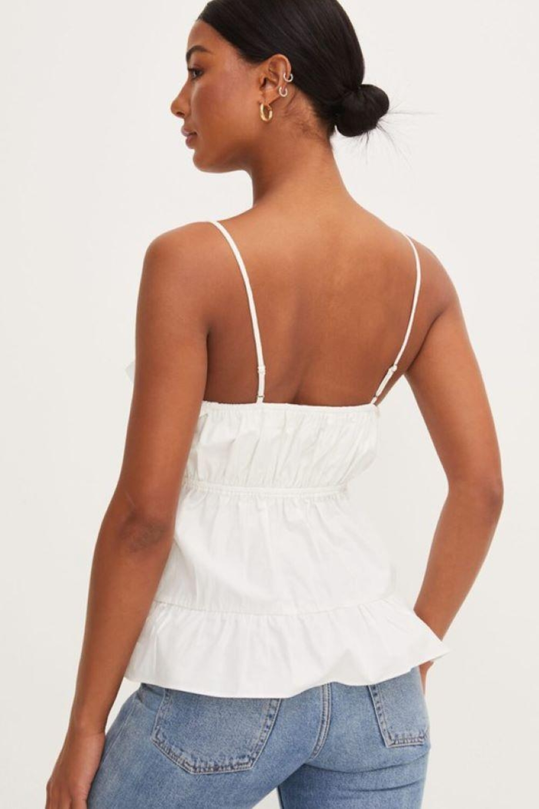 Lush Ruffle Tank Top - Back Cropped Image