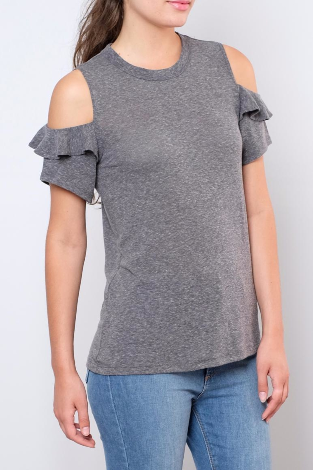 Lush Ruffled Cold Shoulder Top - Front Full Image