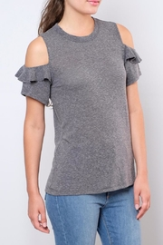 Lush Ruffled Cold Shoulder Top - Front full body