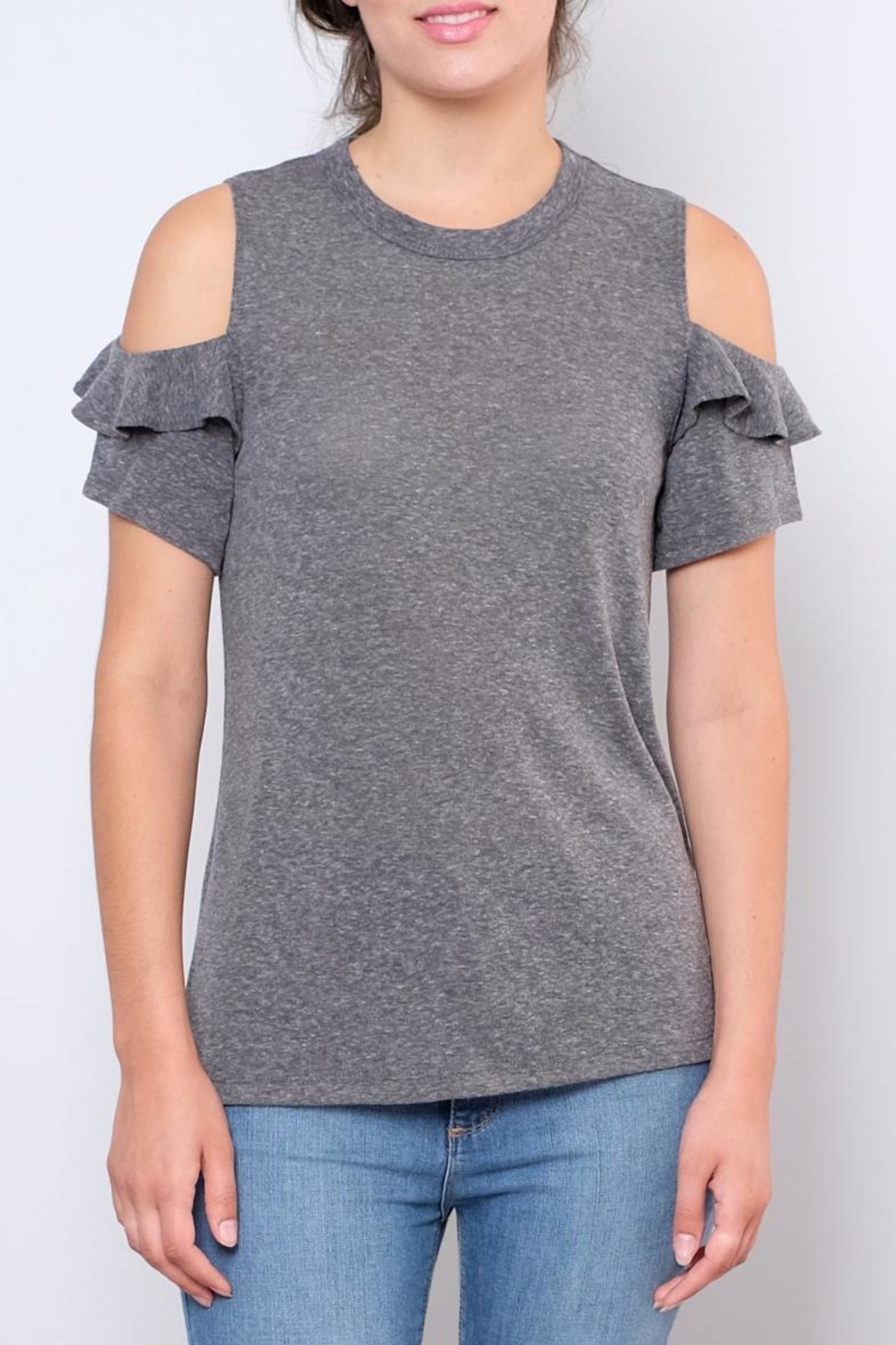 Lush Ruffled Cold Shoulder Top - Front Cropped Image