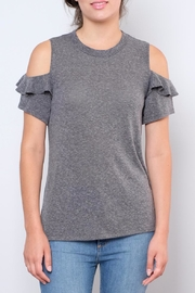 Lush Ruffled Cold Shoulder Top - Front cropped