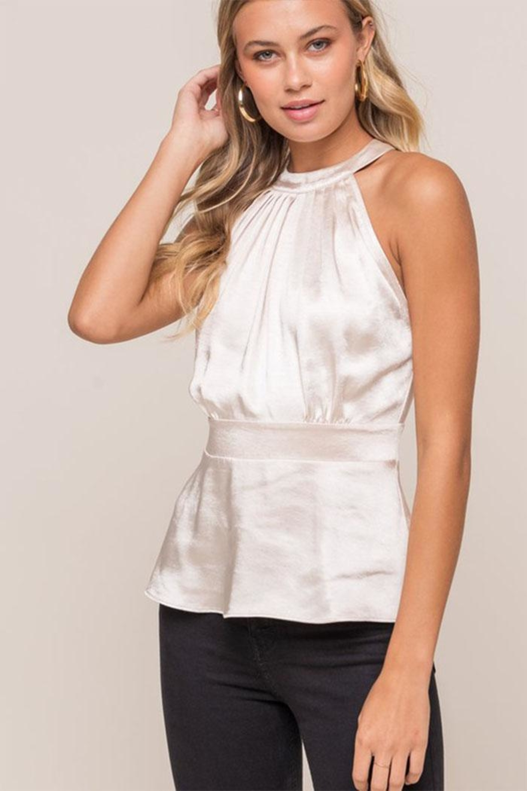 Lush Satin Sleeveless Blouse - Front Cropped Image