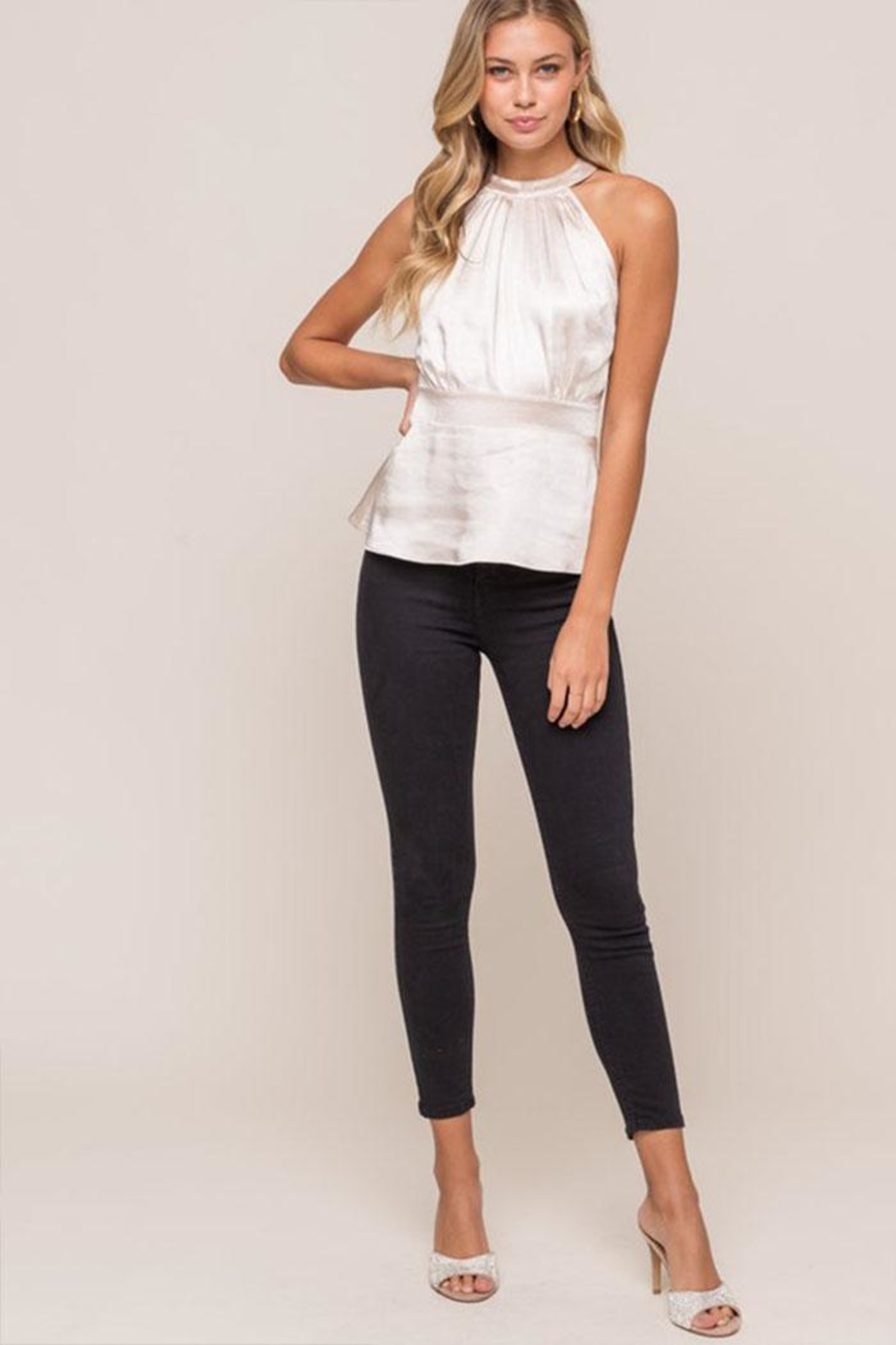 Lush Satin Sleeveless Blouse - Side Cropped Image