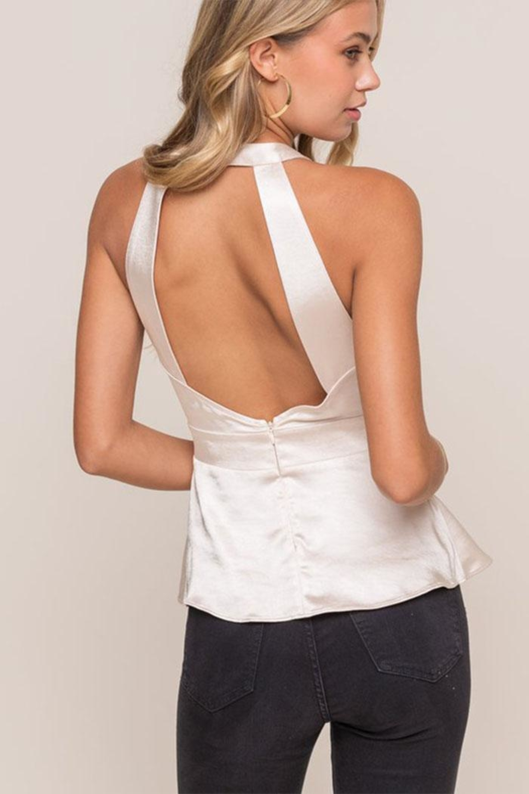 Lush Satin Sleeveless Blouse - Back Cropped Image