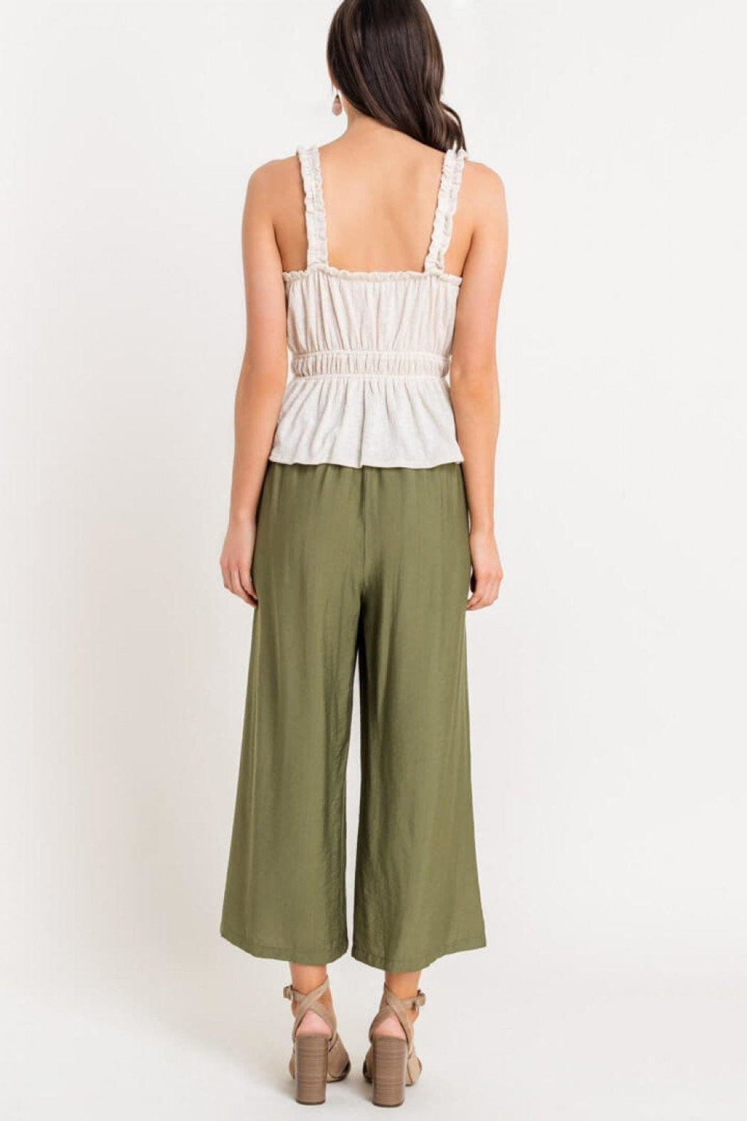 Lush Shirred Frill Top - Back Cropped Image