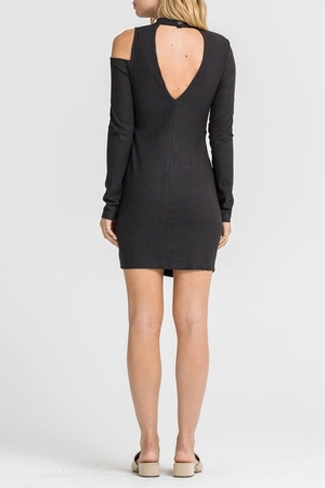 Lush Side Button Dress - Back Cropped Image
