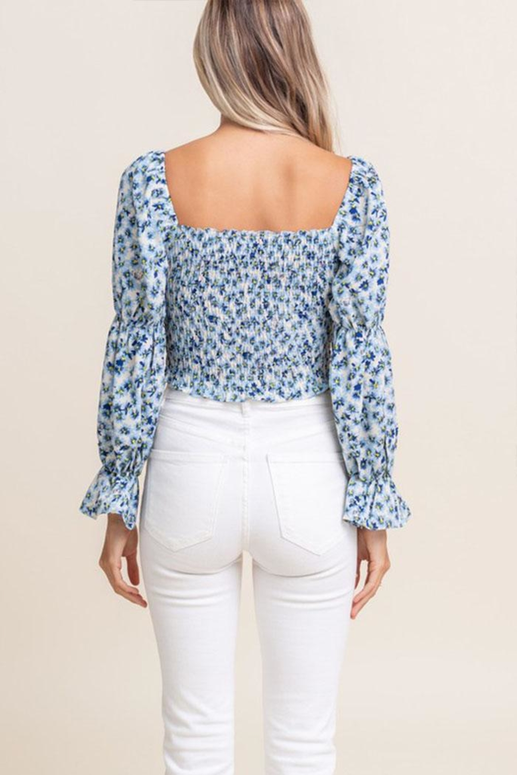 Lush Smocked Daisy Crop-Top - Side Cropped Image