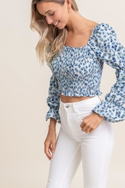 Lush Smocked Daisy Crop-Top - Front full body