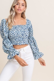 Lush Smocked Daisy Crop-Top - Front cropped