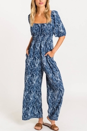 Lush Smocked Square-Neckline Jumpsuit - Front cropped