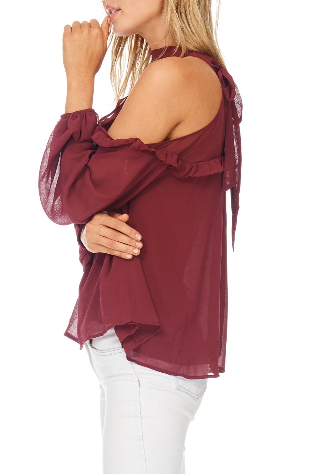 Lush Solid Cold Ruffle Top - Back Cropped Image