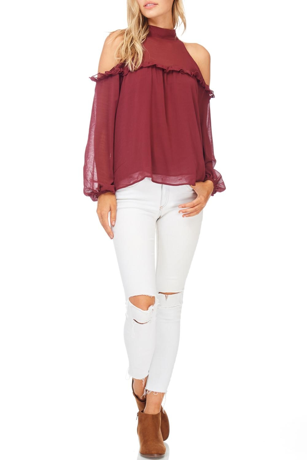 Lush Solid Cold Ruffle Top - Front Cropped Image
