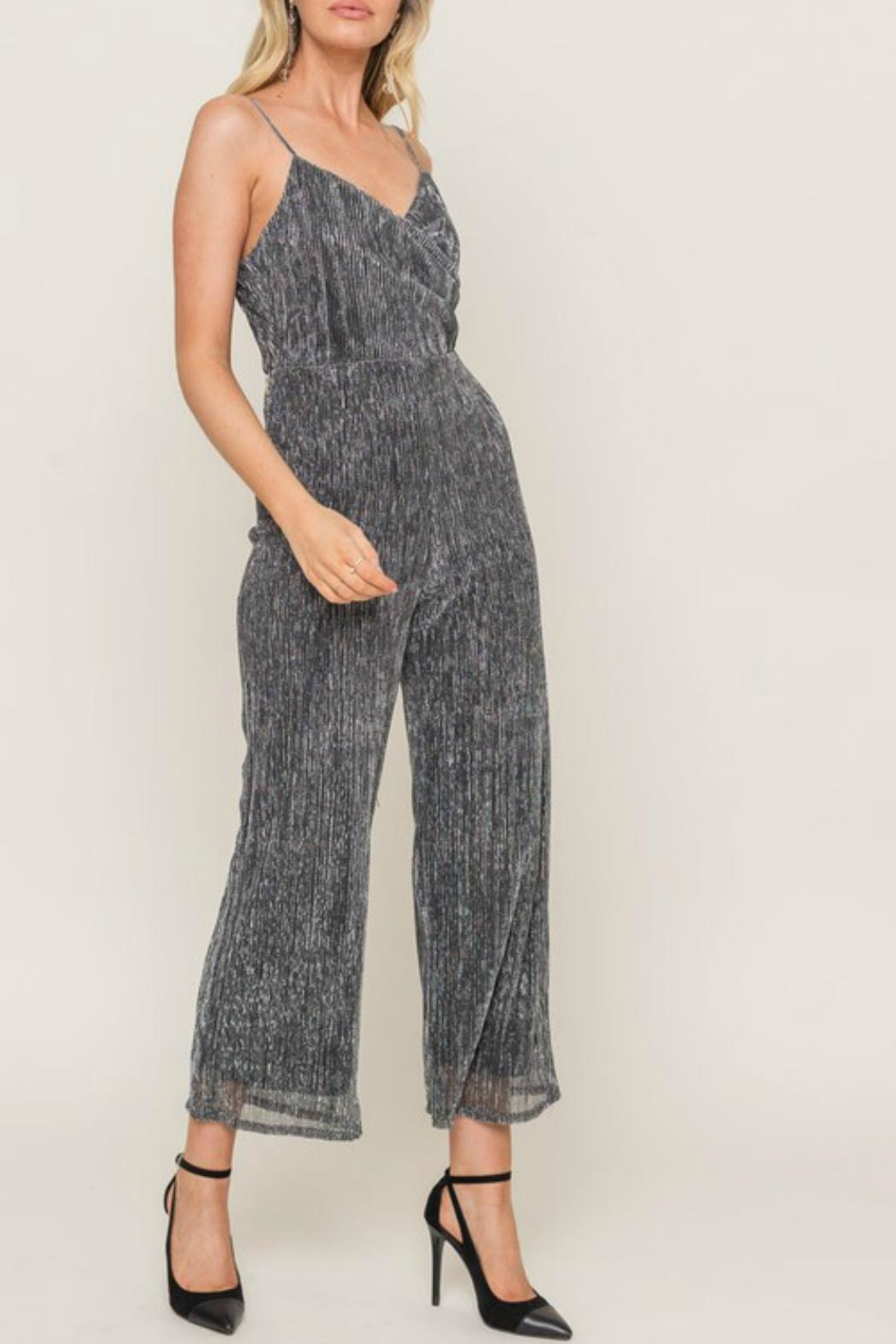 Lush Sparkly Spaghetti Strap Jumpsuit - Side Cropped Image