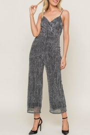 Lush Sparkly Spaghetti Strap Jumpsuit - Front cropped